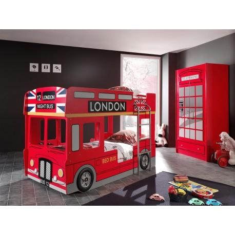 Lit superposé bus londonien rouge avec led LONDRES