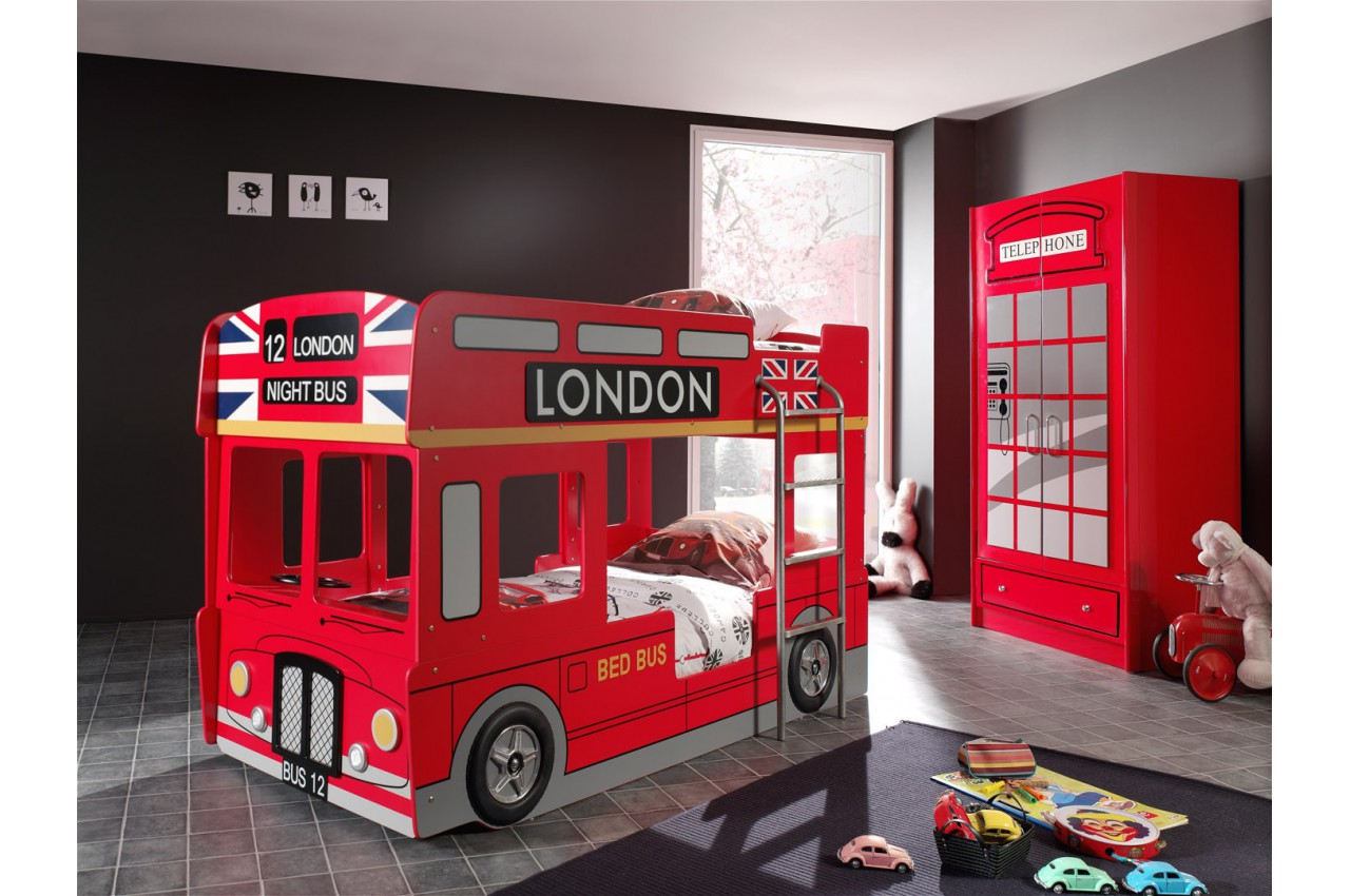 lit superpos bus londonien rouge avec led londres cbc meubles. Black Bedroom Furniture Sets. Home Design Ideas
