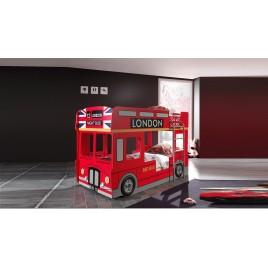 Lit Superposé Bus Londonien Rouge 90X200 cm- éclairage led des feux