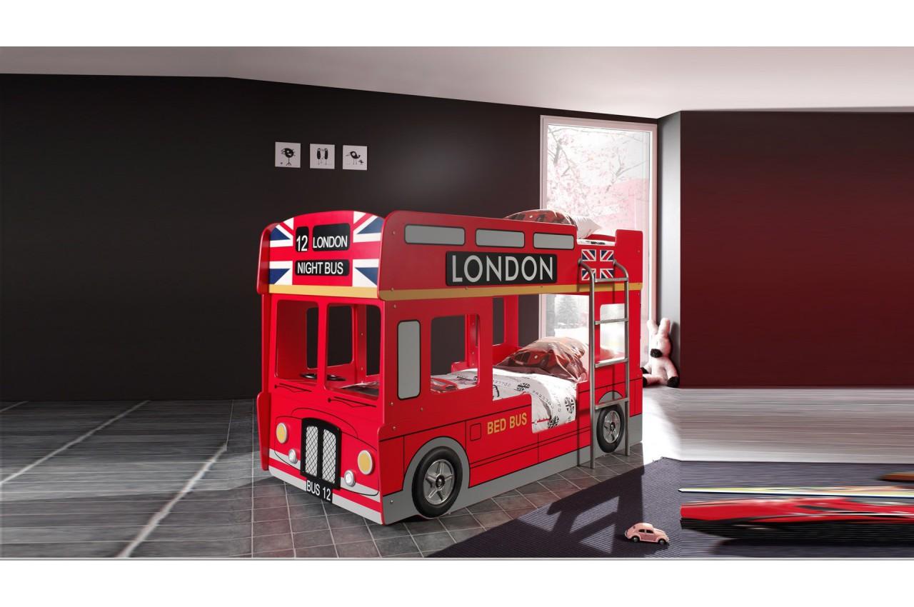 lit superpos bus londonien rouge avec led londres cbc meubles. Black Bedroom Furniture Sets. Home Design Ideas