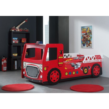 lit camion pompier rouge avec lumi re led pompier cbc meubles. Black Bedroom Furniture Sets. Home Design Ideas