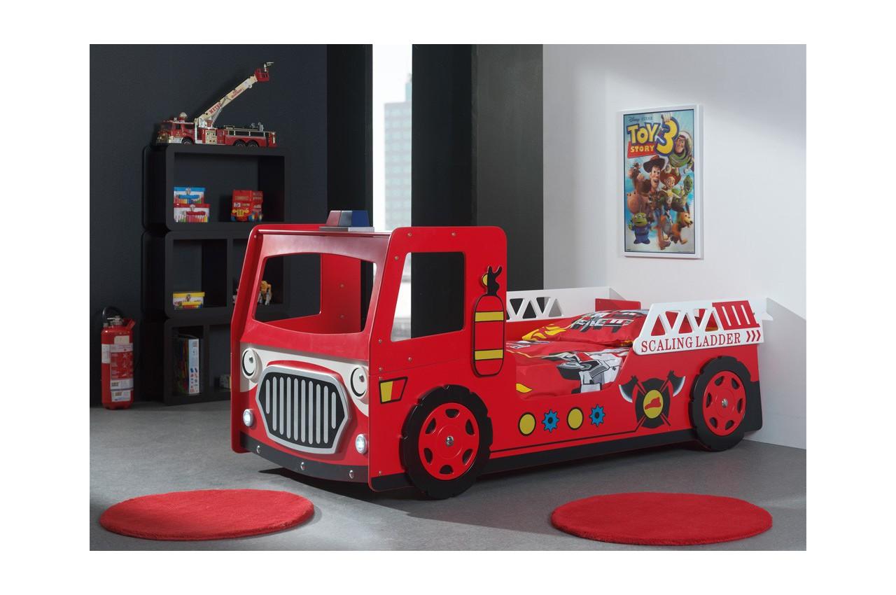 Lit Camion Pompier Rouge Avec Lumiere Led Pompier Cbc Meubles