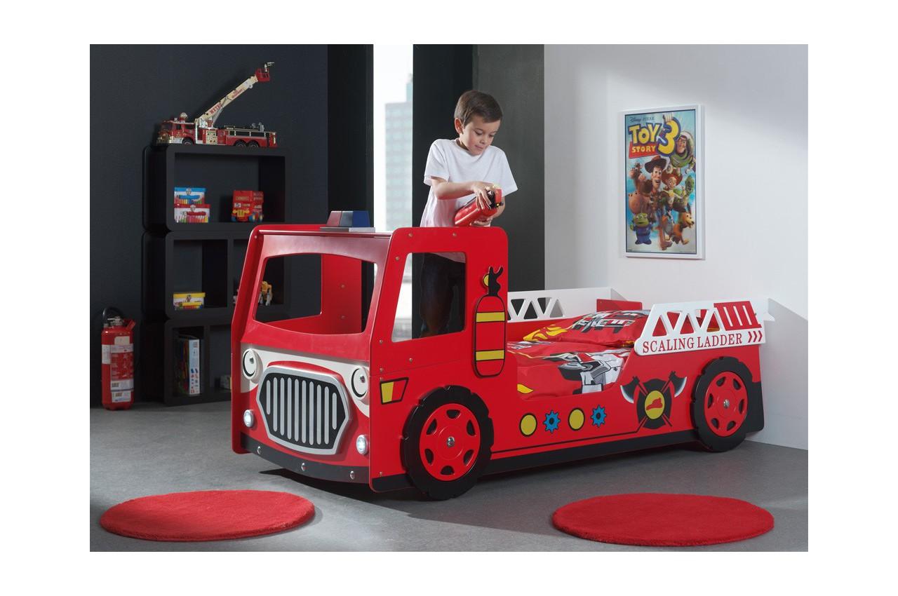 lit camion pompier rouge 90x200 cm avec lumi re led. Black Bedroom Furniture Sets. Home Design Ideas