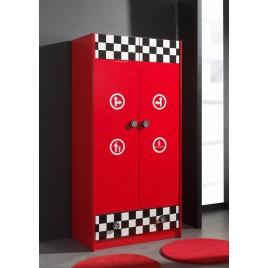 Armoire Laquée Rouge- 2 Portes- 1 tiroir- déco formule 1