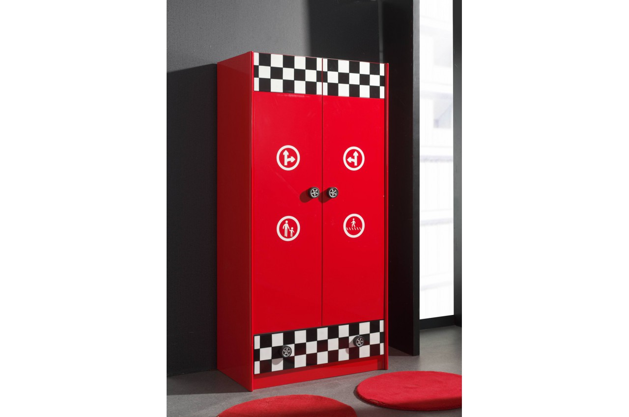 armoire rouge 2 portes 1 tiroir formule 1 cbc meubles. Black Bedroom Furniture Sets. Home Design Ideas