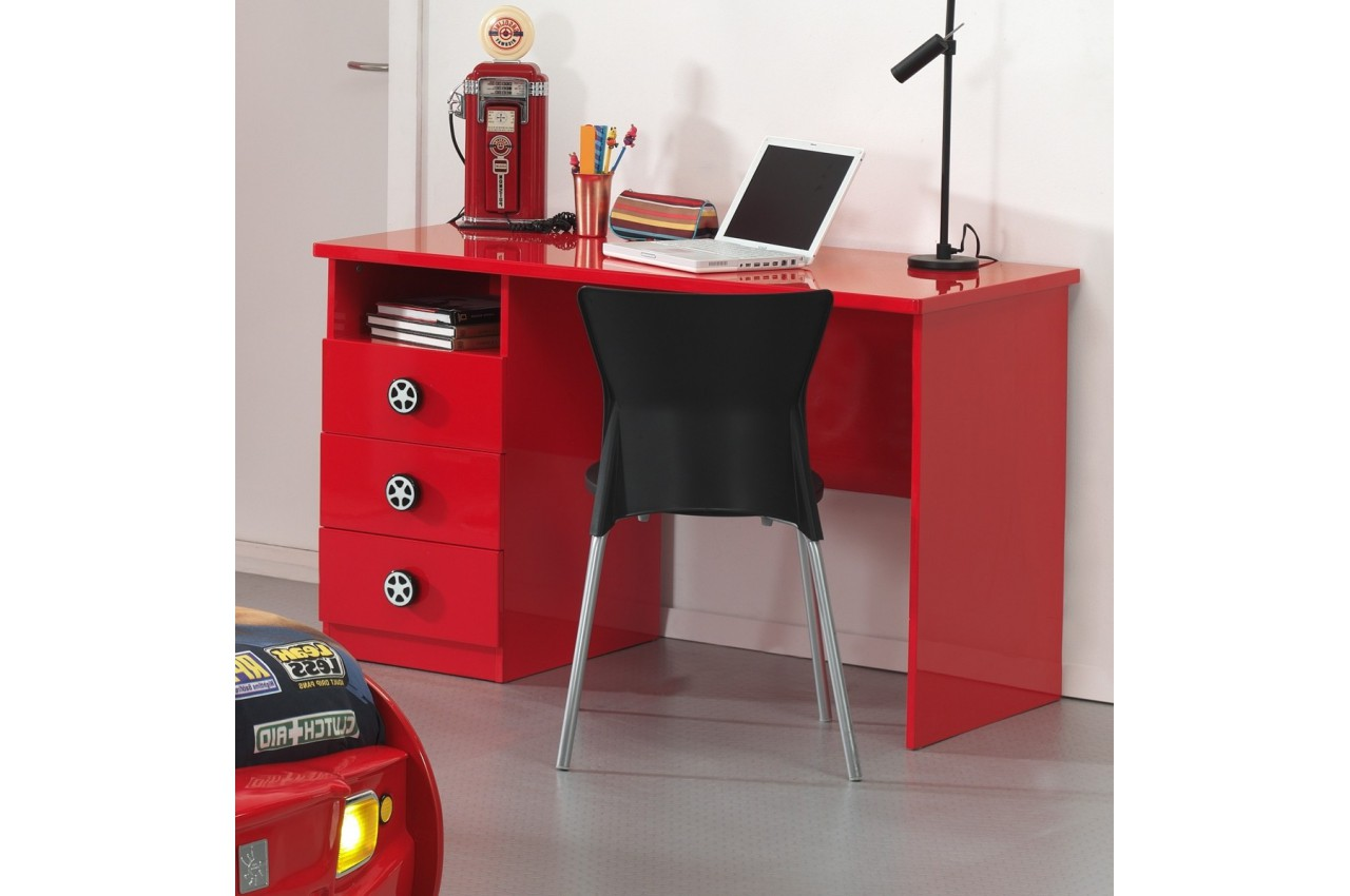bureau rouge laqu chambre enfant cbc meubles. Black Bedroom Furniture Sets. Home Design Ideas