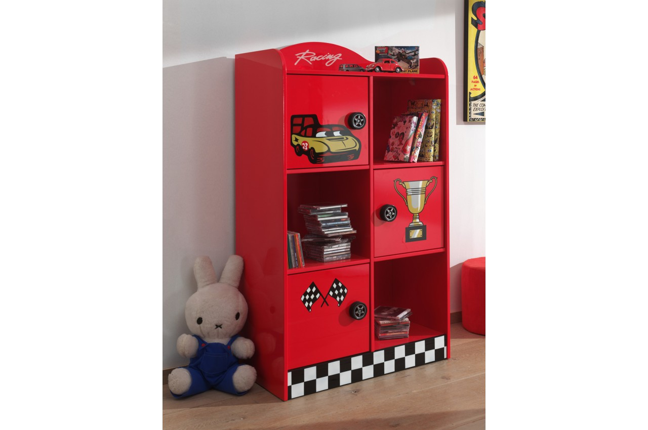 armoire de rangement laqu e rouge kit d co formule 1. Black Bedroom Furniture Sets. Home Design Ideas