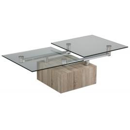 Table Basse Design bois et verre plateaux pivotants