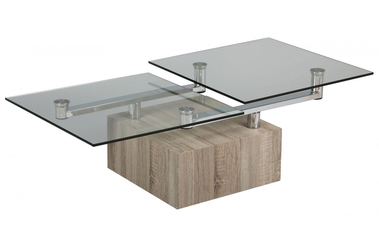 Table basse design bois et verre plateaux pivotants milova for Table basse verre design