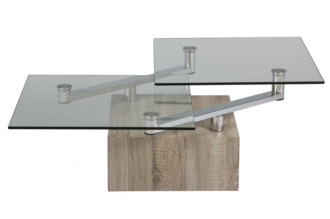 Table Basse Design Bois Et Verre Plateaux Pivotants Cbc Meubles