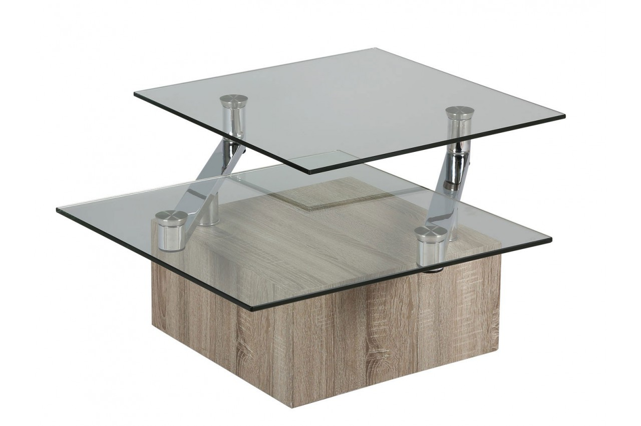 Table basse design bois et verre plateaux pivotants cbc for Table basse bois design