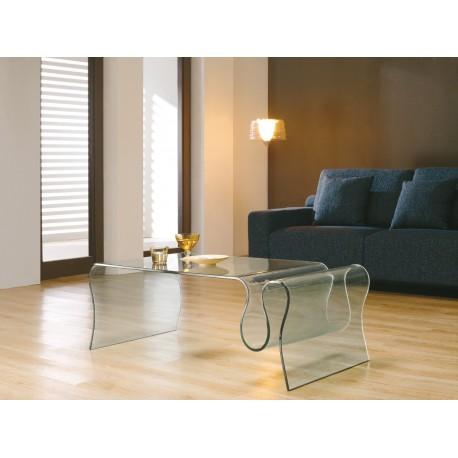 Table basse design en verre porte revues tao cbc meubles for Porte revue salon