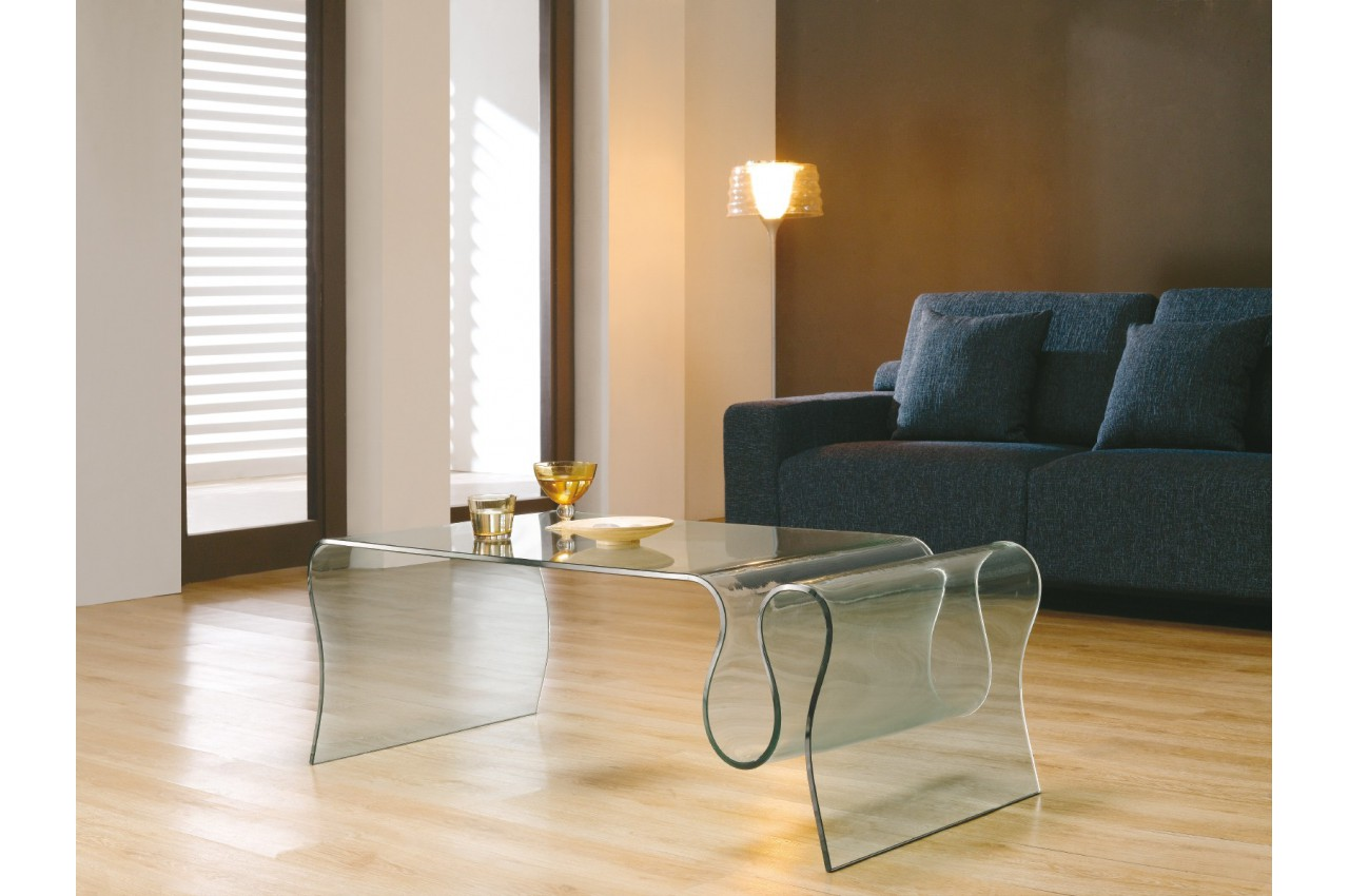 Table basse design en verre porte revues cbc meubles - Table basse porte revue ...