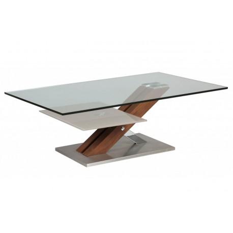 Table basse design verre 12 mm et bois cbc meubles - Table basse bois verre design ...