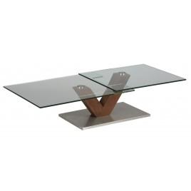 Table Basse Design verre et bois socle en acier