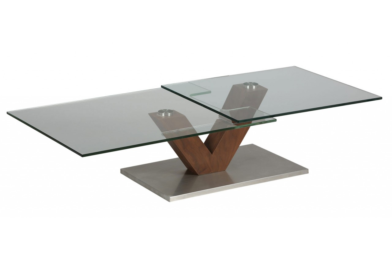 Table basse design verre et bois socle en acier cbc meubles for Table basse verre design