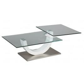 Table Basse Design verre et laque blanc plateau pivotant MILOVA 1263