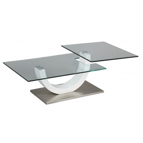 Table Basse Design verre et laque blanc plateau pivotant