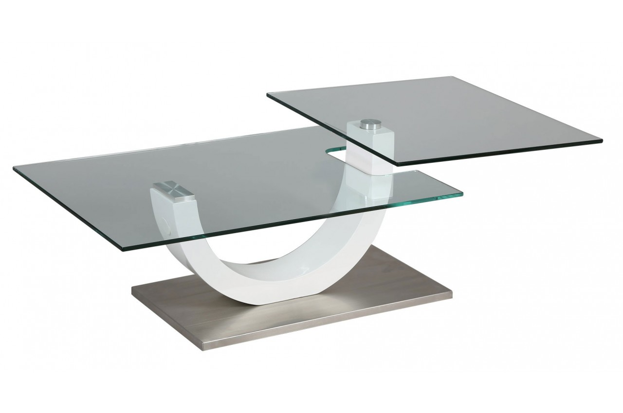 Table basse design verre et laque blanc plateau pivotant - Table salon en verre design ...