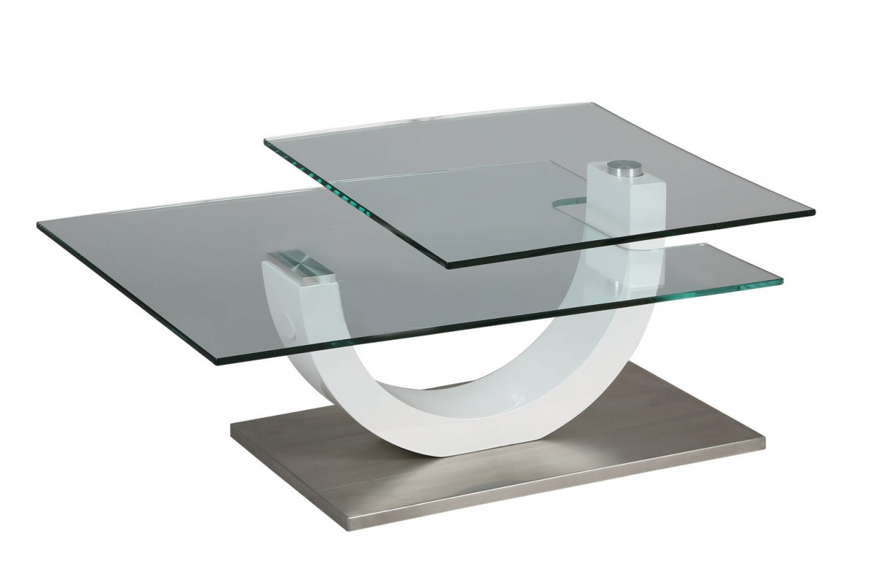 Table basse design verre et laque blanc plateau pivotant cbc meubles - Table basse design verre ...