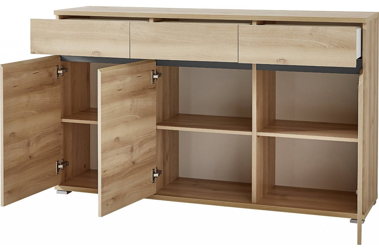 Bahut buffet salon design d cor bois h tre 144 cm cbc for Bahut salon