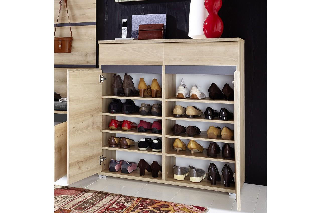 Meuble chaussures d cor bois h tre 20 paires cbc meubles for Meuble 0 chaussures