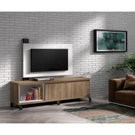 Meuble TV design acacia et panneau TV blanc