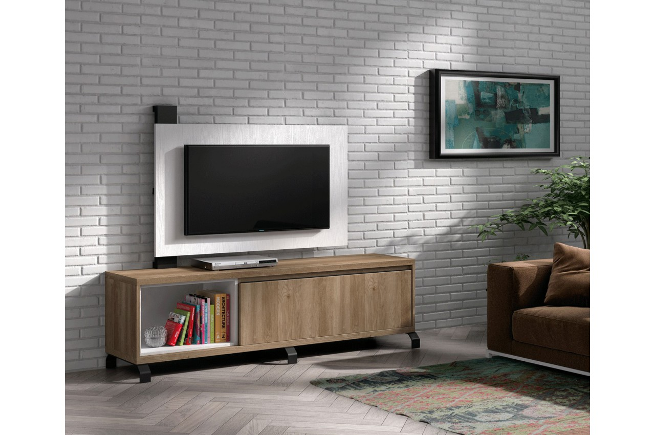 meuble tv design acacia et panneau tv blanc nora k40 cbc meubles. Black Bedroom Furniture Sets. Home Design Ideas