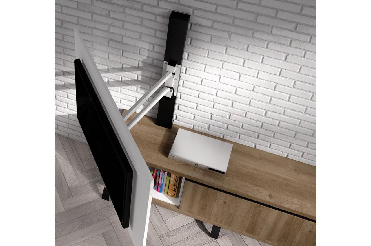 meuble tv design acacia et panneau tv blanc nora k40 cbc meubles. Black Bedroom Furniture Sets. Home Design Ideas