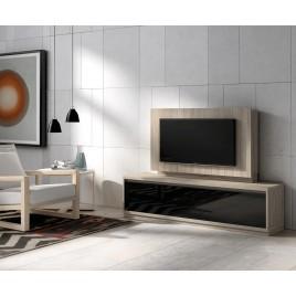 Meuble TV bois orme et panneau TV