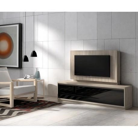 meuble tv bois orme et panneau tv cbc meubles. Black Bedroom Furniture Sets. Home Design Ideas