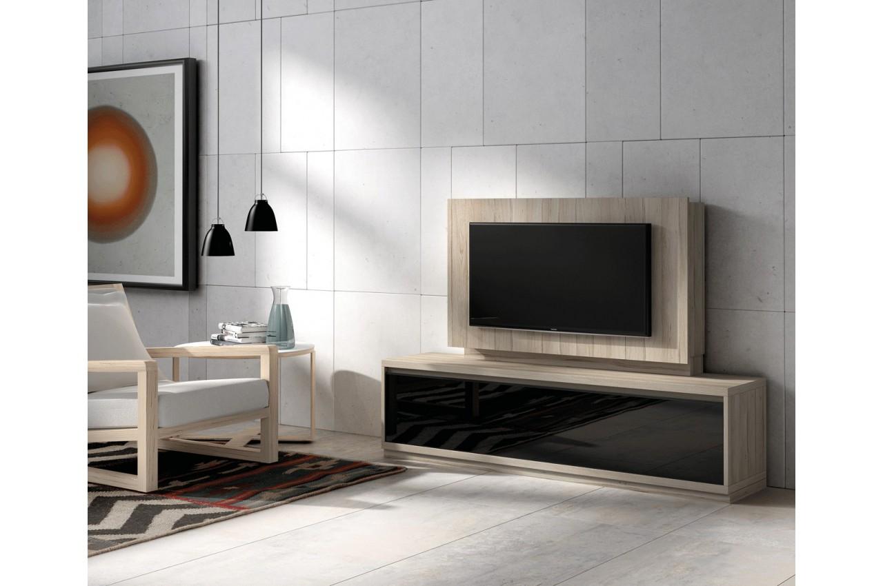 Meuble tv bois orme et panneau tv cbc meubles for Meuble tv verre et bois