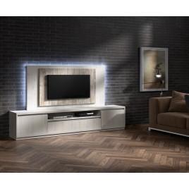 Meuble TV moderne avec panneau TV frêne et bois vieilli