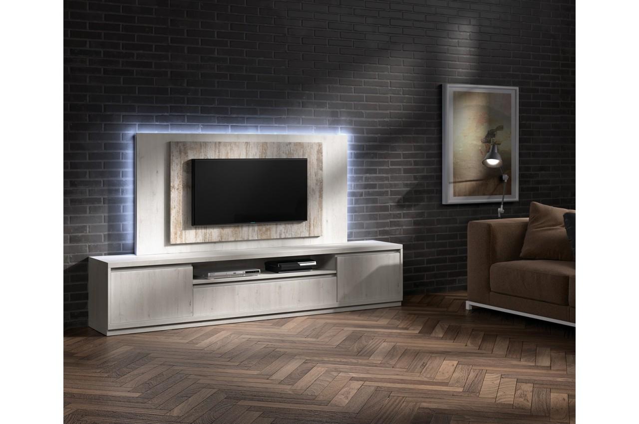 Meuble tv moderne avec panneau tv fr ne et bois vieilli - Meuble tv bois moderne ...