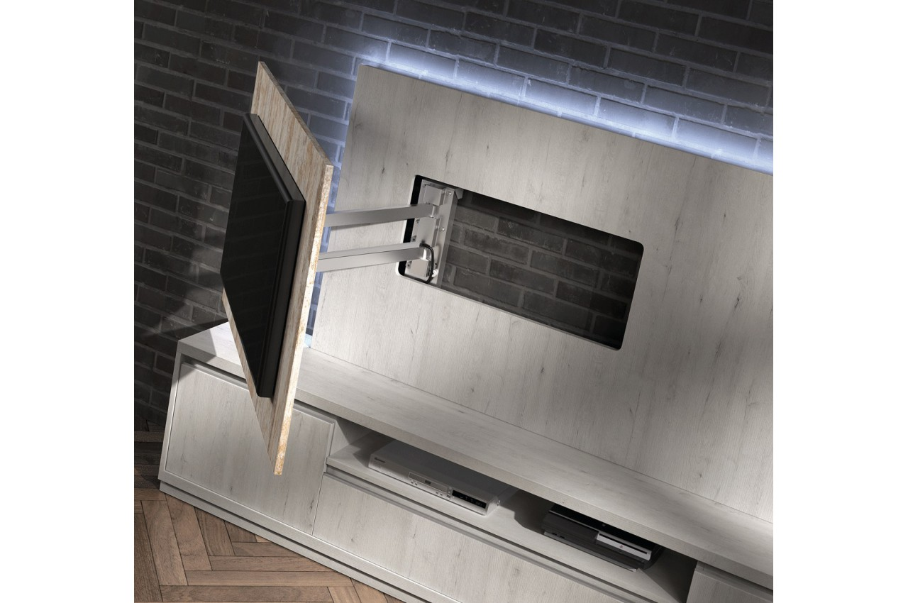 Meuble Tv Moderne Bois : Meuble Tv Moderne Avec Panneau Tv Frêne Et Bois Vieilli – Cbc-meubles