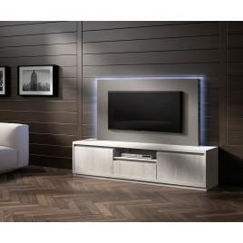 Meuble TV Design frêne et panneau TV gris NORA K44