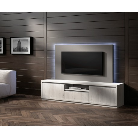 meuble tv design fr ne et panneau tv gris nora k44 cbc meubles. Black Bedroom Furniture Sets. Home Design Ideas
