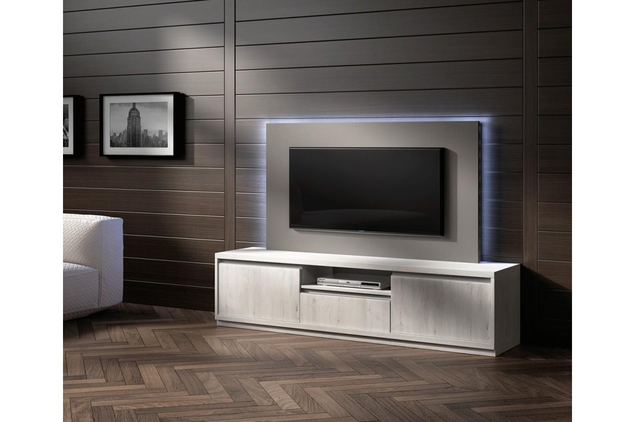 Meuble tv design fr ne et panneau tv gris cbc meubles for Meuble tv haut gris