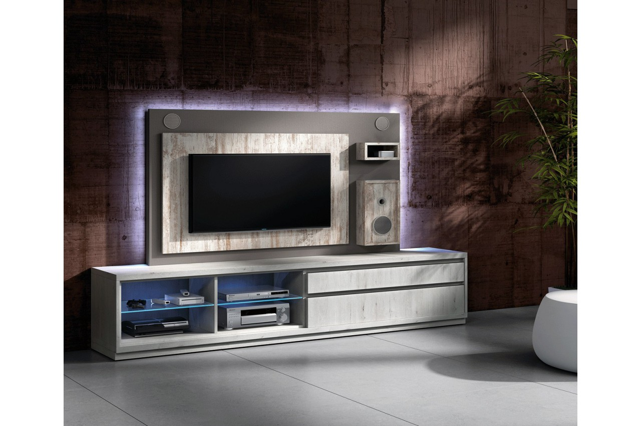 Meuble tv design avec enceintes int gr es nora k45 cbc for Meuble hifi tv design