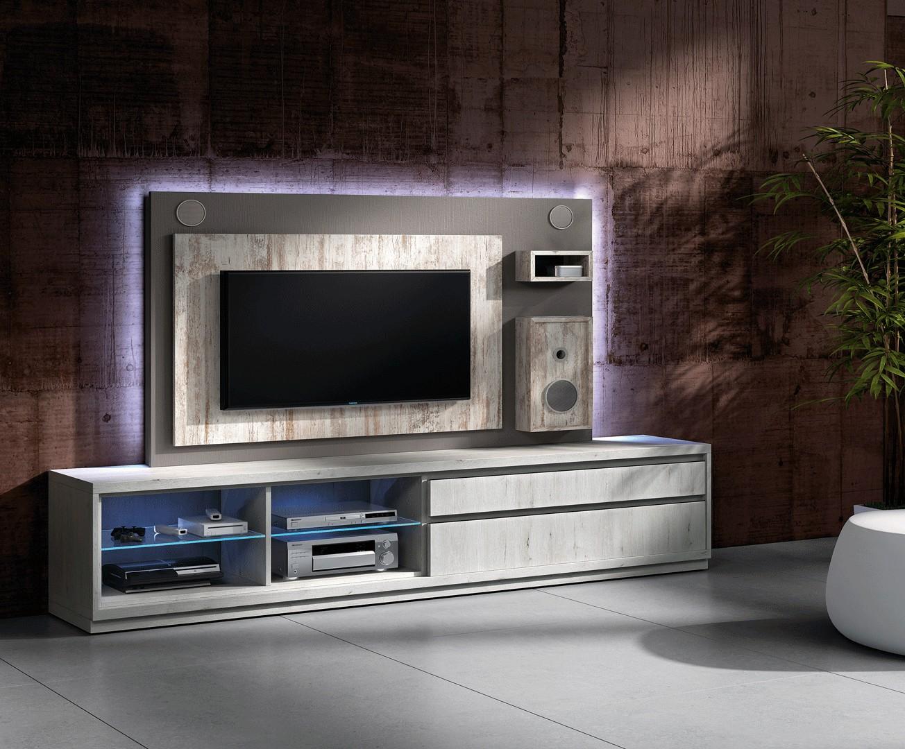 Meuble Tv Hifi Intégré meuble tv design avec enceintes intégrées nora k45 - cbc-meubles