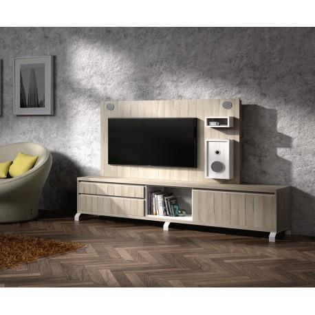 Meuble tv design et panneau tv avec enceintes int gr es - Meuble tele enceinte ...