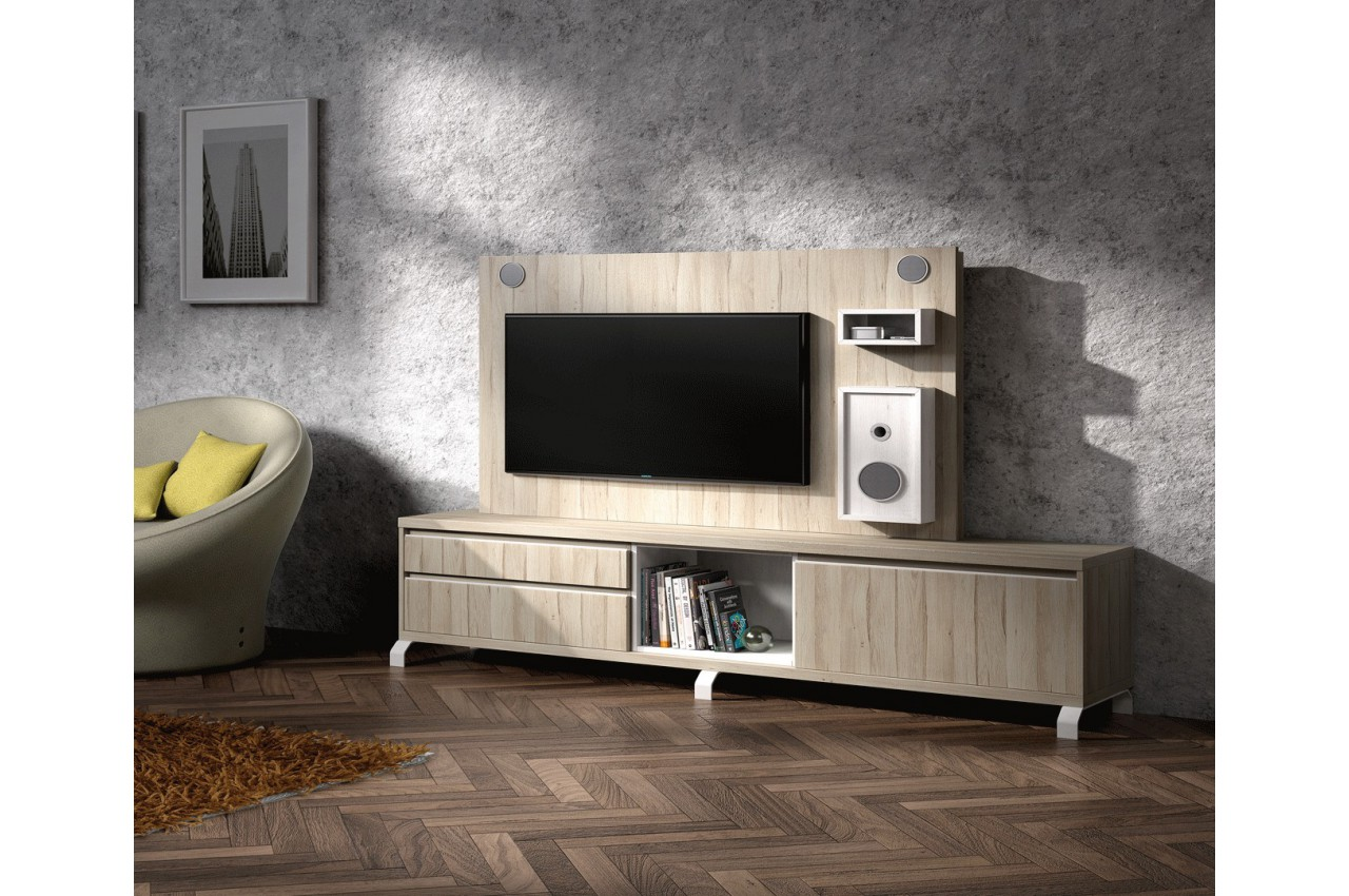 meuble tv design et panneau tv avec enceintes int gr es cbc meubles. Black Bedroom Furniture Sets. Home Design Ideas