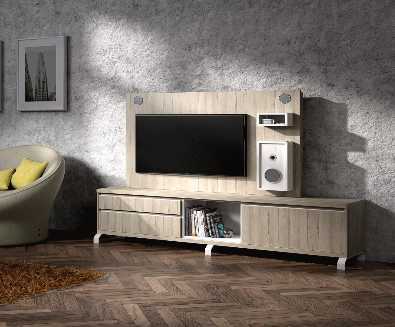 Meuble Tv Design Et Panneau Tv Avec Enceintes Int Gr Es Nora K46  # Meuble Tv Avec Enceintes