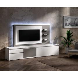 Meuble TV Design blanc avec panneau TV gris brun