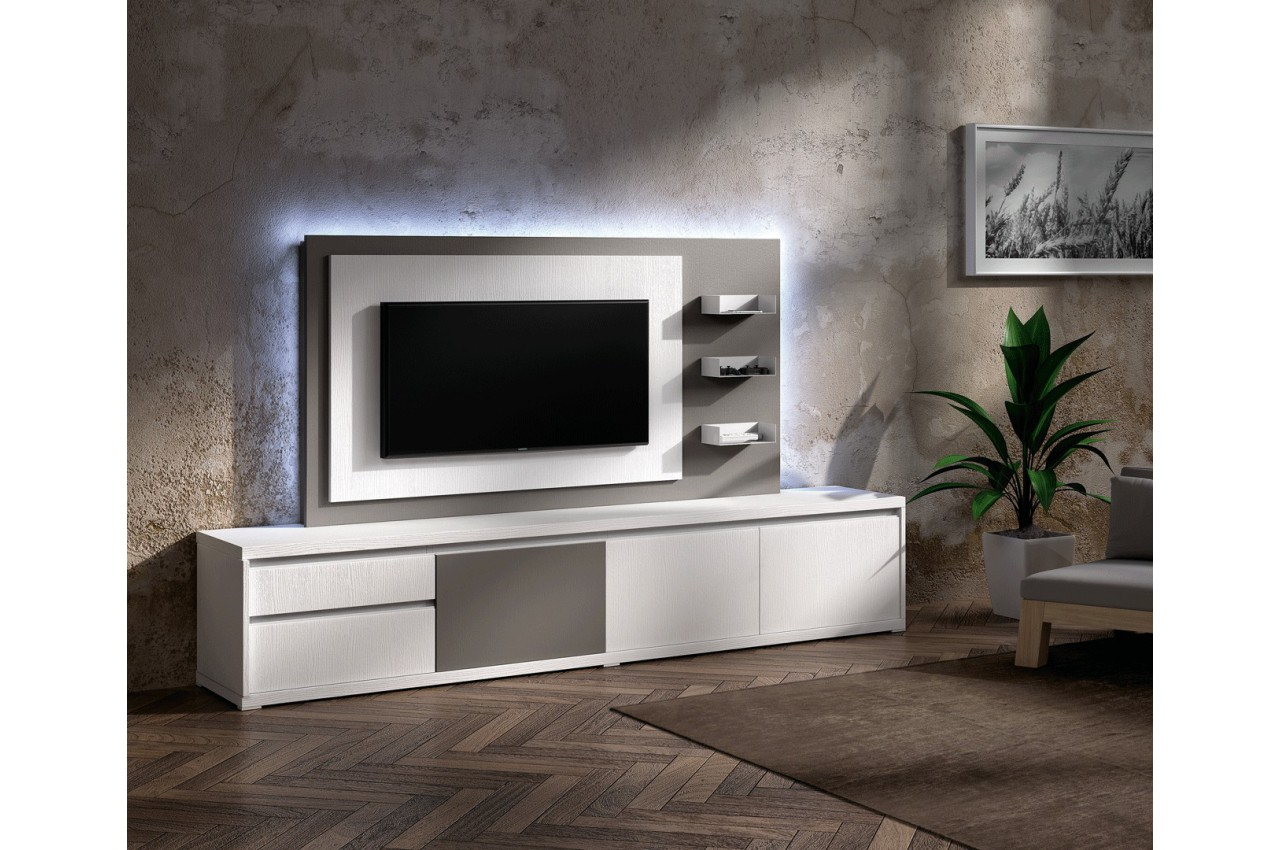meuble tv design blanc avec panneau tv gris brun cbc meubles. Black Bedroom Furniture Sets. Home Design Ideas