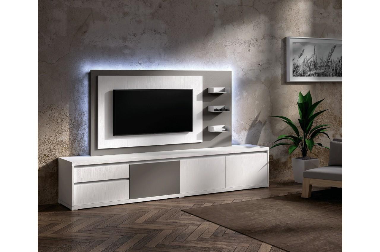 Meuble tv design blanc avec panneau tv gris brun cbc meubles for Meuble salon gris et blanc