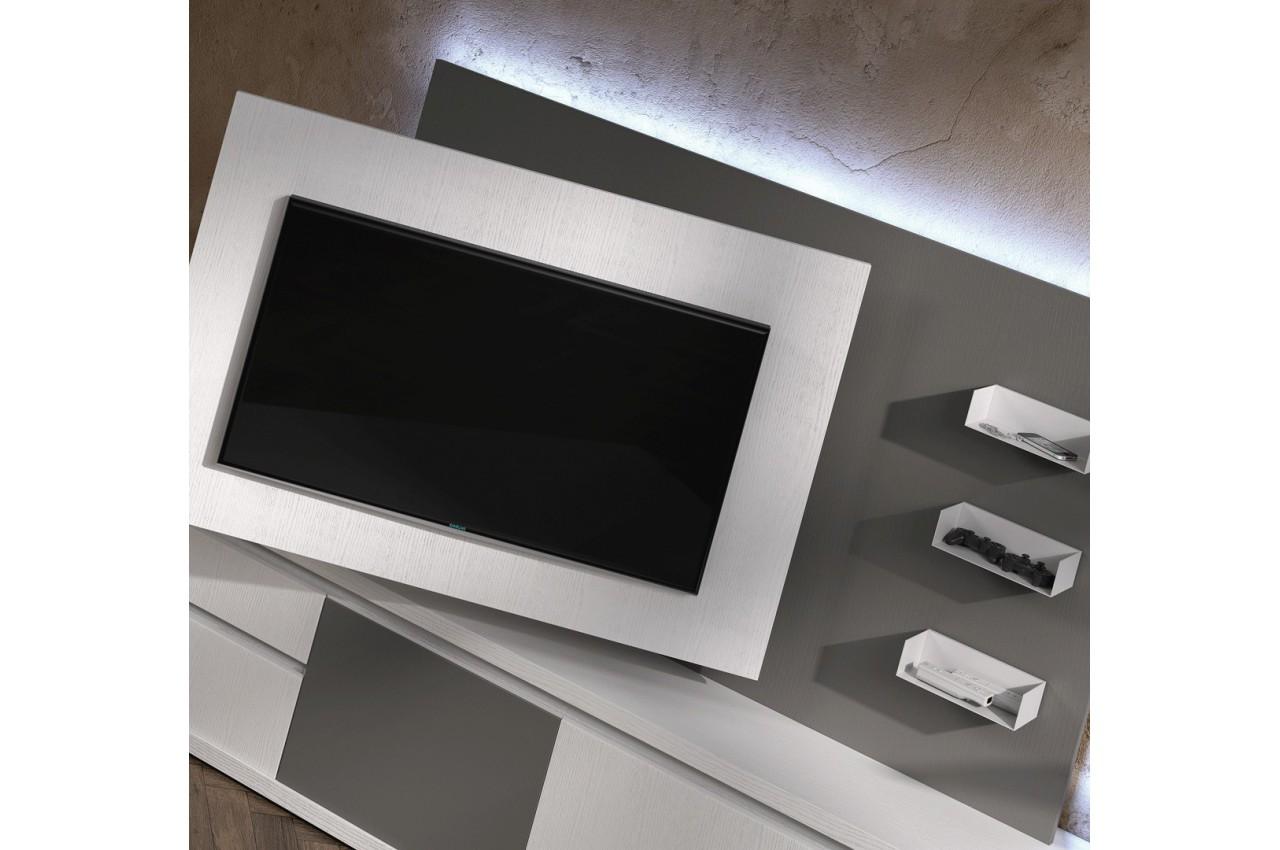 Meuble tv design blanc avec panneau tv gris brun nora k47 for Meuble tv blanc gris
