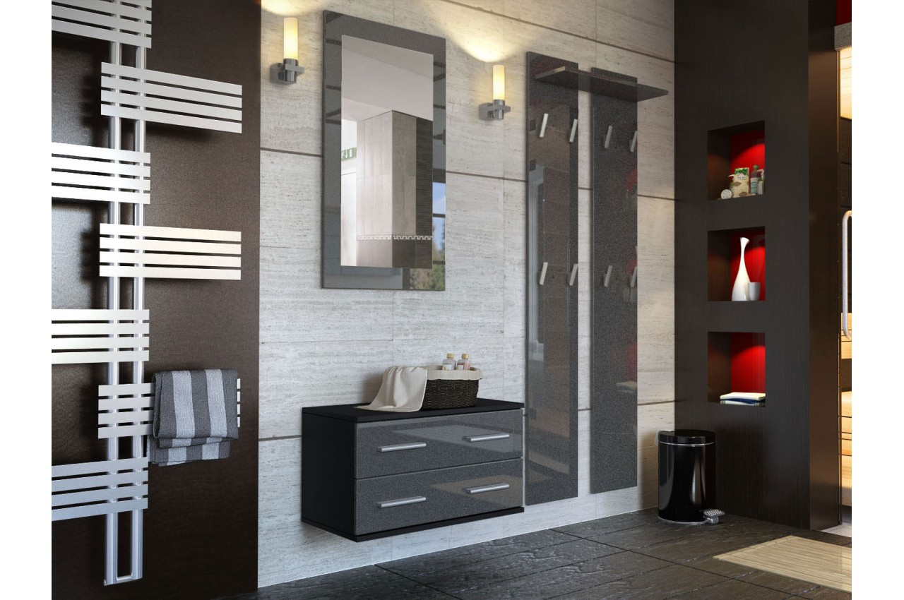 meuble mural miroir vestiaire cbc meubles. Black Bedroom Furniture Sets. Home Design Ideas