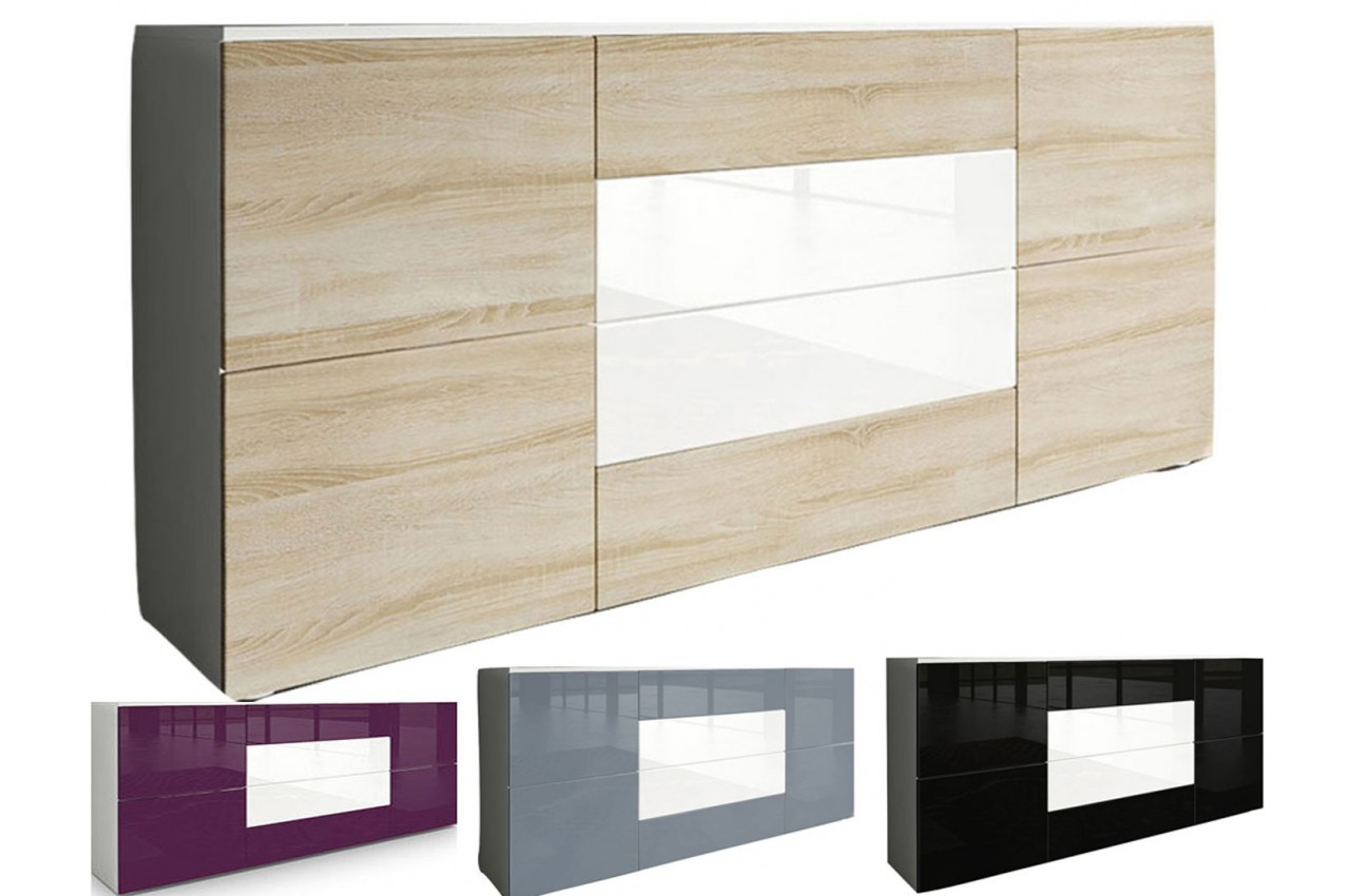Meuble buffet design samba cbc meubles for Buffet gris pas cher