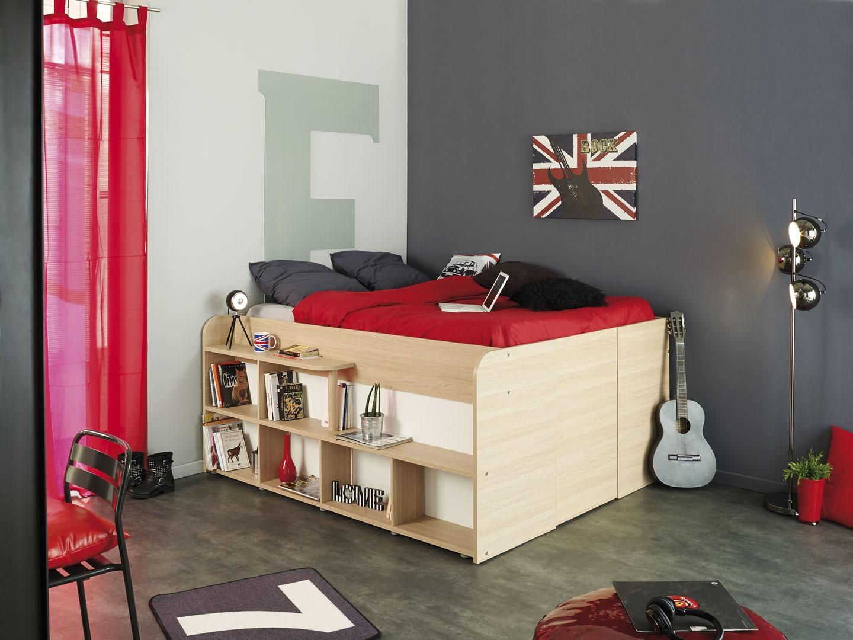 Lit Avec Rangement En Dessous lit combiné 140x200 cm gain de place roxy - cbc-meubles